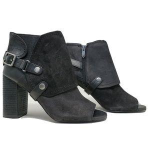 Fergie Roland Bootie Block Heel Leather Shoe